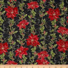 Ribbons & Holly Poinsettia Metallic Black Sold by JRsFabricStash, $4.50