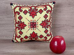 Geometric yellow red black cross stitch embroidered needlepoint decorative pillow custom cover 10 x 10 (28 x 28 cm)