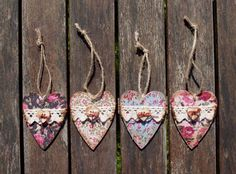 Shabby Chic Wooden Hearts Love Heart Stocking by CinnamonDesigns2