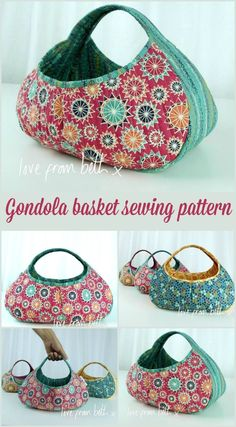 This gondola basket sewing pattern is only 3 simple pieces! Make a great craft or knitting basket too.  I'm sewing one of these soon.