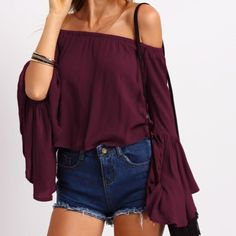 SHEIN offers Fluted Sleeve Bardot Blouse & more to fit your fashionable needs. Off The Shoulder, Off Shoulder Blouse, Shoulder Tops, Shoulder Sleeve, Cold Shoulder, Bell Sleeves, Bell Sleeve Top, Plain Tops, Spring Shirts