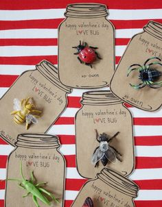 Not only are these insanely cute, they are also insanely easy to do. In fact, the author of the page included the link to download the already designed and print ready Valentine printable. All you need are the bugs. And to fancy it up for your adult friends, you could use pretty little bug brooches.