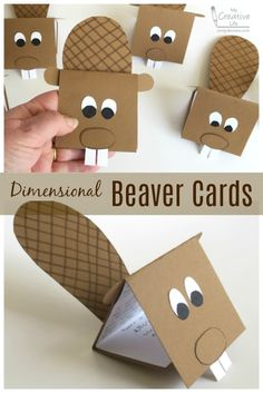 Cindy deRosier: My Creative Life: Dimensional Beaver Cards Projects For Kids, Diy For Kids, Crafts For Kids, Scout Activities, Craft Activities, Canada Day Crafts, Le Castor, Beaver Scouts, North American Animals