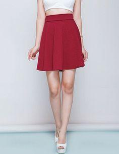 Chân váy in hoa nổi 3d màu đỏ-A1561