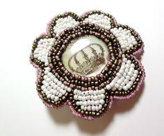 Pink and Brown Royal Crown Flower Hair Clip   Megan's Beaded Designs