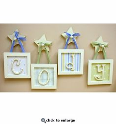 The Straight Edge Framed Wooden Letters from New Arrivals are a spunky twist on the traditional kids wall letters! Choose between tons of adorable background prints (or any New Arrivals bedding fabric! Framed Wooden Letters, Hanging Letters On Wall, Diy Letters, Letter Wall, Frames On Wall, Framed Wall, Nursery Letters, Alphabet Nursery, Nursery Decor
