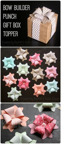 Stampin' Up! Bow Builder Punch Gift Box Topper [Click link for instructions] | Bow Punch, Tiny Treat Boxes & DSP Patterns Stack | Created by Rachel & Katie Legge