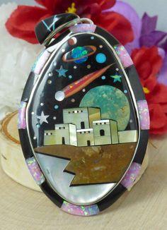 Navajo Style Sterling Silver & Multi-Stone Micro Inlay 'Starry Night' Pendant!!