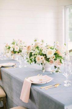 Dusty blue velvet linen wedding tablescape with white, peach & blush flower arrangement. Blush Wedding Reception, Blue And Blush Wedding, Blush Wedding Colors, Rustic Wedding Venues, Dusty Blue Weddings, Wedding Linens, Wedding Table, Blush Weddings, Wedding Flower Arrangements