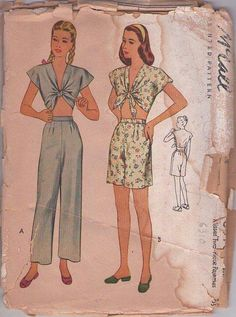 MOMSPatterns Vintage Sewing Patterns - McCall's 6310 Vintage 40's Sewing Pattern KILLER Hollywood Starlet, Rockabilly Pinup Girl Tied Midriff Cropped Top Pajamas Blouse, High Waisted Shorts & Trousers Size 18