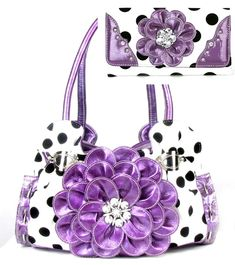 Matching Sets - Flower Purse Sets - Handbags, Bling & More! Unique Purses, Cute Purses, Polka Dot Purses, Polka Dots, Pink Purses, Fashion Handbags, Purses And Handbags, Fashion Bags, Trendy Handbags
