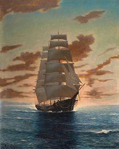 Clipper Ship at Dawn - Anton Otto Fischer 20th century