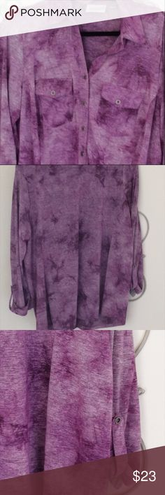 Avenue Purple Blouse Button Down 14/16 Faux roll tab sleeves. Made in China. Double pockets.Polyester, rayon, and spandex. Small stripes with a tie dye pattern. Tunic length with silver metallic stripes. Make me an offer! Avenue Tops Button Down Shirts