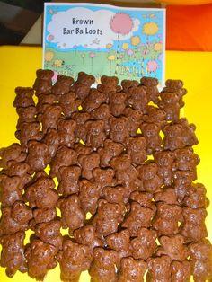 Seuss Party - Lorax Brown Bar-ba-loots with Teddy Grahams Dr Seuss Party Ideas, Dr Seuss Birthday Party, 1st Birthday Parties, Ideas Party, 2nd Birthday, Birthday Ideas, Bar Ideas, Happy Birthday, Dr Seuss Snacks
