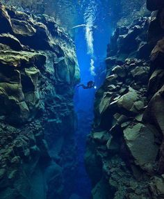 Scuba Diving in the Tectonic Plate Gap Between North American and Eurasian plates near IcelandDefinitely have to do this! Scuba Diving in the Tectonic Plate Gap Between North American and Eurasian plates near Iceland Tectonique Des Plaques, Oh The Places You'll Go, Places To Visit, Plate Tectonics, Underwater Photos, Underwater Photographer, Underwater City, Parc National, What A Wonderful World
