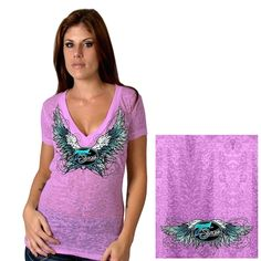 Official 2015 Sturgis Motorcycle Rally Sparkle Wings Ladies Purple Shirt