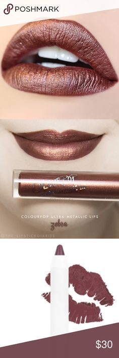 Nip/Colourpop Zebra/NEW/UltaMetalic/Color+Pencil NEW/Ultra-Metallic from COLOURPOP! ZEBRA!U'll look like u, but exotic version! True bronze in Metallic finish/+perfectly paired w Pitch Lip Pen(chocolate brown)! LIPCOLOR ultra MetallicLip intense metalized liquid lipstick dripping w metallic pearls/non-drying formula created 2B luxurious, smooth/leaves lips super comfy. Formula not completely transfer resistant, but extremely long wearing! Use Pitch 2 line & fill them in & apply Zebra on top…