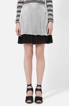TOPSHOP Unique 'Sun Ray' Two Tier Pleated Skirt available at #Nordstrom