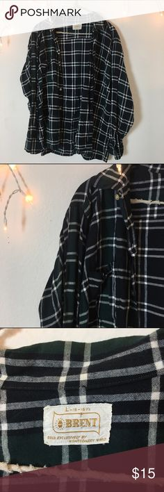 Dark Blue Green Vintage Flannel Perfect condition super comfortable and versatile. Dark navy and forest green with white detailing. Thin material style. From Brandy Melville vintage section tags brand is Brent. Brandy Melville Tops Sweatshirts & Hoodies