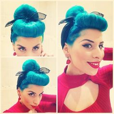 Miss @gabbikatz wearing her bumper bangs #Bluehair @thebluehairedbetty #manicpanic