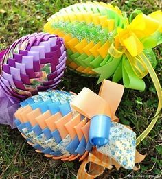 Easter egg with ribbons in the art artichoke. Master class watch online http://handworkforyou.com/