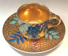 Fujii Kinsai Arita Japan - Somenishiki Golden Fuji (Wisteria) Cup & Saucer