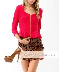 Este #look es apropiado para personalidades arriesgadas. Llévalo con #éxito con los #Pump Camel #Vaqueta: http://www.brantano.com.mx/producto/624-pump-camel-vaqueta.aspx   #leopardo #Brantano #peplum #rojo