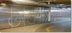 ImagePerf cycle storage enclosure within a privately owned underground car park facility in High Holborn, central London. Cycle Storage, Security Screen, Bike Parking, Wire Mesh, Screens, Lockers, London, Architecture, Canvases