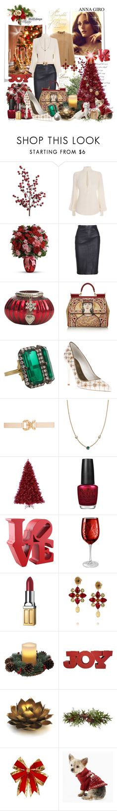 """""""Merry Christmas and Happy Holidays to all my followers and to each and every creative polyvore user"""" by annagiro ❤ liked on Polyvore featuring Pier 1 Imports, Derek Lam, Alexander McQueen, Lene Bjerre, Dolce&Gabbana, Sylva & Cie, Forever New, Elsa Peretti, OPI and Artland"""