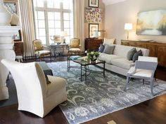 color inspiration neutral and blue living room | Transitional Living-rooms from Tish Mills on HGTV