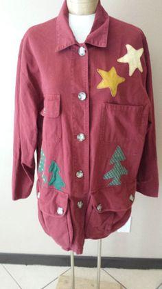 Eddie Bauer Holiday Ugly Christmas Burgundy Star Tree Jacket Cotton Womens Sz L #EddieBauer #LightCottonJacket