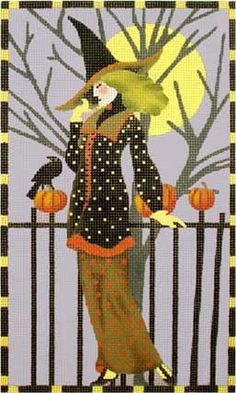 Melissa Shirley Designs | Hand Painted Needlepoint | Witch and Fence with Crow