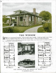 design ideas bungalow Sterling Kit House - The Winsom Sterling Kit House - Der Winsom Bungalow Interiors, Bungalow Homes, Bungalow House Plans, Small House Plans, House Floor Plans, Bungalow Designs, Craftsman Bungalow Exterior, Craftsman Style Homes, Craftsman Bungalows