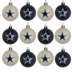 Dallas Cowboys NFL 12 Pack Plastic Ball Ornament Set
