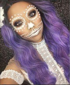 Sooo awesome and amazing girl @promisetamang with the the White Henna Sugar Skull wears our water wavy dark purple wig. Girls love it? Wig SKU:SN6-T1B/3815M #evahair #evahairoffical #halloweenmakeup #purple #fashion