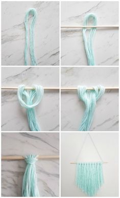 How to make a simple DIY wall hanging with yarn - A Q .- Wie erstelle ich eine einfache DIY Wandbehang mit Garn – A Quick & Easy DIY – How to make a simple DIY wall hanging with yarn – a quick & easy DIY – - Pot Mason Diy, Mason Jar Crafts, Diy Simple, Simple Crafts, Quick And Easy Crafts, Modern Crafts, Yarn Wall Hanging, Diy Hanging, Macrame Wall Hangings