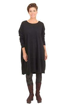 Wool & Jersey Dress, Black