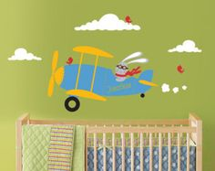 airplane wall decals for kids rooms | Airplane Wall Decal, Bunny Rabbit Flying a Biplane and Custom Name for ...
