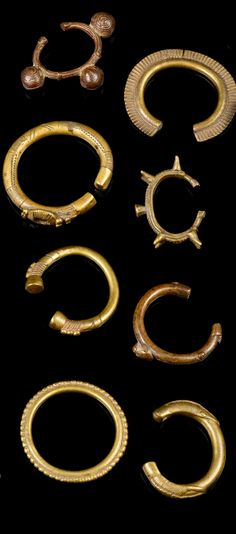 West Africa | Collection of 8 brass alloy bracelets, from the Gurunsi people of Burkina Faso and the Senufo people of Ivory Coast | Est. 100 - 400€ ~ (Sept '14)
