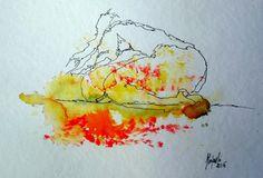 Tusche Hand Zeichnung original Hajewski rot Akt Erotik Körper body abstrakt neu