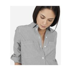 Everlane Women's Striped Cotton Poplin Shirt Dress ($78) ❤ liked on Polyvore featuring dresses, lightweight summer dresses, structured dress, white summer dress, shirt dresses and t-shirt dresses