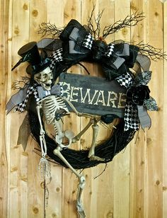 Skeleton Beware 24in Halloween Wreath  Black by SignsStuffnThings, $109.99