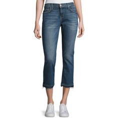 Current/Elliott The Cropped Straight-Leg Jeans with Released Hem ($118) ❤ liked on Polyvore featuring jeans, indigo, women's apparel jeans, frayed jeans, faded blue jeans, mid rise straight leg jeans, cropped jeans and straight leg jeans