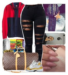 """""""Who challenge me"""" by melaninmonroee ❤ liked on Polyvore featuring Børn and Louis Vuitton"""