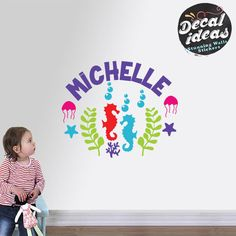 Under the Sea decals, Nursery Wall Decal, Personalized Wall Decal, Vinyl Decals, Baby Wall Decal, seahorse wall decor, Sea life wall decals