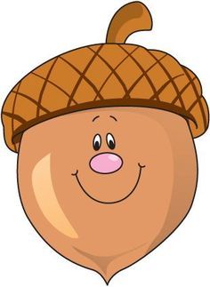 Acorn with smiley face Art Drawings For Kids, Drawing For Kids, Art For Kids, Crafts For Kids, Fall Clip Art, Image Clipart, Fall Preschool, Felt Patterns, Autumn