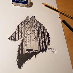 """Mi piace"": 52, commenti: 1 - MORRIS (@morristattoo) su Instagram: ""FOLLOW ME New sketch #lupo #bosco #ideatattoo #tattoo #ink #social #wolf #forest #symbolism…"""