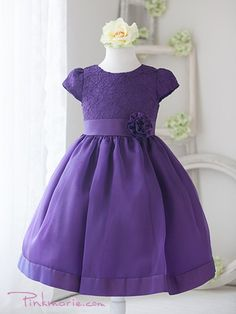 Purple Lace Bodice Taffeta Girl Dress