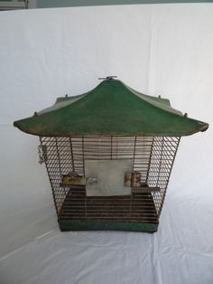 Antique Vintage Large Green Metal Birdcage Cage *Unique*