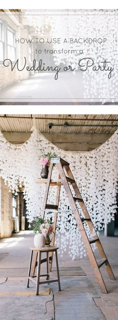 DIY Wax Paper Backdrop Wooden wedding decor: www. Diy Wedding Backdrop, Wedding Reception, Rustic Wedding, Ladder Wedding, Decor Wedding, Ceremony Backdrop, Stage Backdrops, Wedding Gazebo, Loft Wedding